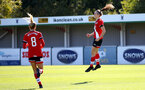 Southampton, ENGLAND - SEPTEMBER 27: Ella Pusey (R) first goal celebration during the FAWNL match between Southampton Women and Buckland Athletic at Snows Stadium on September 27, 2020 in Southampton, United Kingdom (Photo by Isabelle Field/Southampton FC via Getty Images)