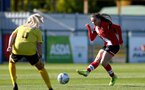 Southampton, ENGLAND - SEPTEMBER 27: Georgie Freeland (R) of Southampton during the FAWNL match between Southampton Women and Buckland Athletic at Snows Stadium on September 27, 2020 in Southampton, United Kingdom (Photo by Isabelle Field/Southampton FC via Getty Images)