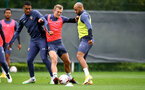 SOUTHAMPTON, ENGLAND - SEPTEMBER 30: L to R Yan Valery, James Ward-Prowse and Nathan Redmond during a Southampton FC training session at the Staplewood Campus on September 30, 2020 in Southampton, England. (Photo by Matt Watson/Southampton FC via Getty Images)