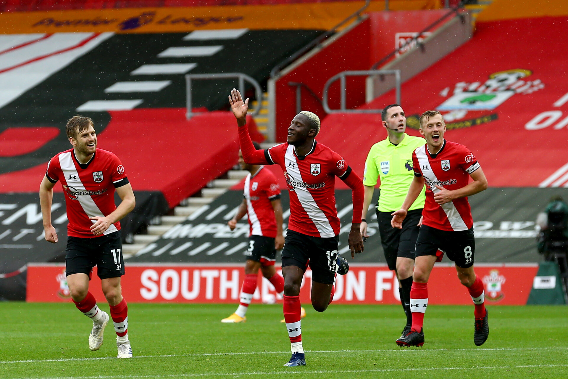 SOUTHAMPTON, ENGLAND - OCTOBER 04: Moussa Djenepo (center) of Southampton goal celebration during the Premier League match between Southampton and West Bromwich Albion at St Mary's Stadium on October 4, 2020 in Southampton, United Kingdom. Sporting stadiums around the UK remain under strict restrictions due to the Coronavirus Pandemic as Government social distancing laws prohibit fans inside venues resulting in games being played behind closed doors. (Photo by Matt Watson/Southampton FC via Getty Images)
