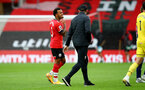 SOUTHAMPTON, ENGLAND - OCTOBER 04: Ryan Bertrand (L) of Southampton and Ralph Hasenhuttl Southampton manager after the Premier League match between Southampton and West Bromwich Albion at St Mary's Stadium on October 4, 2020 in Southampton, United Kingdom. Sporting stadiums around the UK remain under strict restrictions due to the Coronavirus Pandemic as Government social distancing laws prohibit fans inside venues resulting in games being played behind closed doors. (Photo by Matt Watson/Southampton FC via Getty Images)