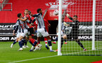 SOUTHAMPTON, ENGLAND - OCTOBER 04: The ball narrowly stays out of the West Brom net during the Premier League match between Southampton and West Bromwich Albion at St Mary's Stadium on October 04, 2020 in Southampton, United Kingdom. Sporting stadiums around the UK remain under strict restrictions due to the Coronavirus Pandemic as Government social distancing laws prohibit fans inside venues resulting in games being played behind closed doors. (Photo by Matt Watson/Southampton FC via Getty Images)