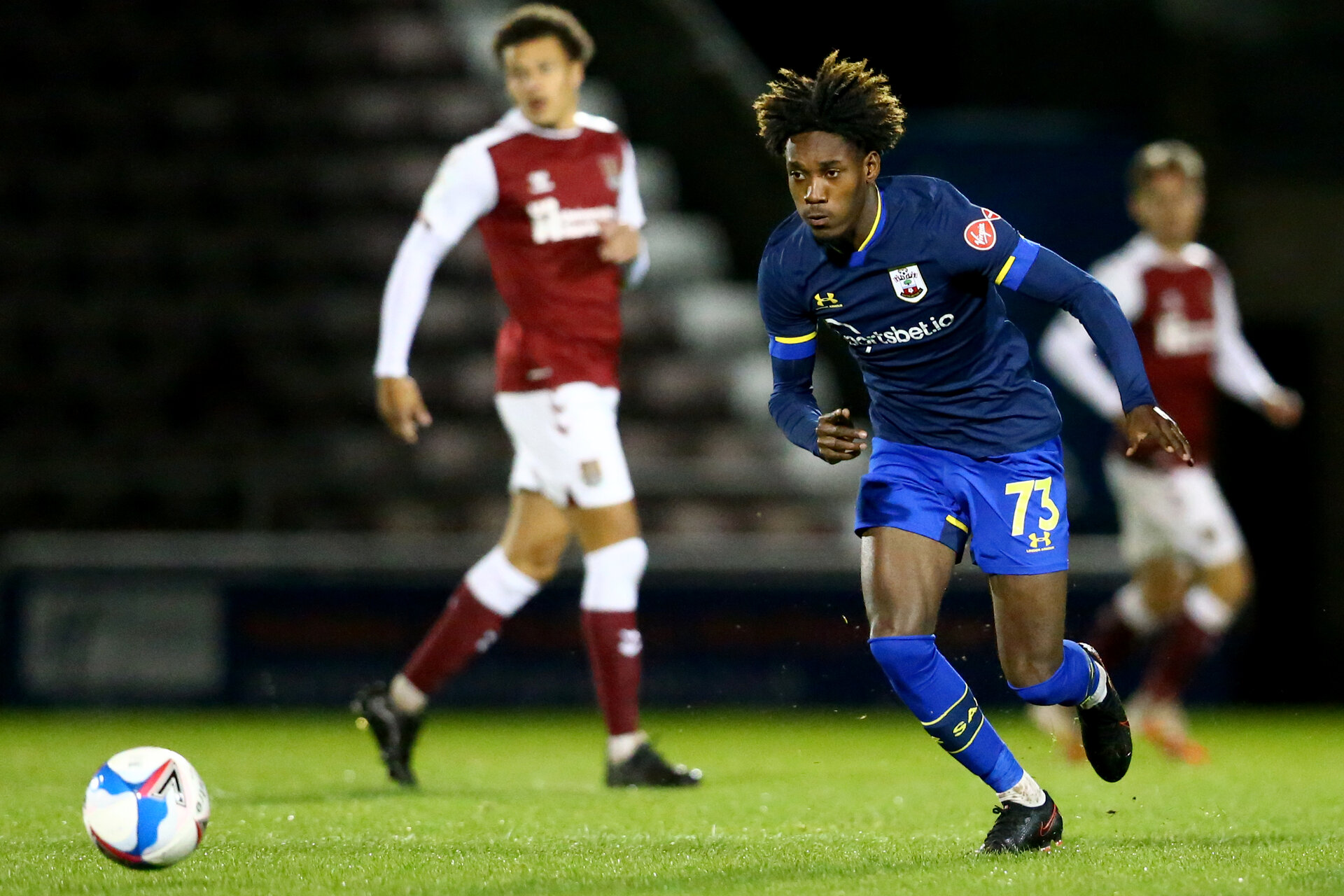 NORTHAMPTON, ENGLAND - OCTOBER 06: Ramello Mitchell of Southampton during EFL Cup match between Northampton Town FC and Southampton FC B Team at the PTS Academy Stadium on October 6, 2020 in Northampton, England. (Photo by Isabelle Field/Southampton FC via Getty Images)