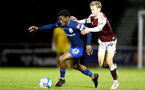 NORTHAMPTON, ENGLAND - OCTOBER 06: Nathan Tella (L) of Southampton and Morgan Roberts (R) of Northampton during EFL Cup match between Northampton Town FC and Southampton FC B Team at the PTS Academy Stadium on October 6, 2020 in Northampton, England. (Photo by Isabelle Field/Southampton FC via Getty Images)