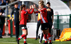 SOUTHAMPTON, ENGLAND - OCTOBER 11: Georgie Freeland (L) coming off for Shannon Albuery (R) of Southampton during FAWNL match between Southampton Women and Exeter City at Snows Stadium on October 11, 2020 in Southampton, England. (Photo by Isabelle Field/Southampton FC via Getty Images)