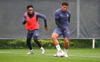 SOUTHAMPTON, ENGLAND - OCTOBER 12: Kyle Walker-Peters(L) snd Che Adams during a Southampton FC training session at the Staplewood Campus on October 12, 2020 in Southampton, England. (Photo by Matt Watson/Southampton FC via Getty Images)