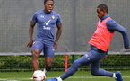 SOUTHAMPTON, ENGLAND - OCTOBER 21: Michael Obafemi (L) and Ibrahima Diallo (R) during a Southampton FC Training session at the Staplewood Complex on October 21, 2020 in Southampton, England. (Photo by Isabelle Field/Southampton FC via Getty Images)