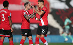 SOUTHAMPTON, ENGLAND - OCTOBER 25: Danny Ings(L) of Southampton and Jan Bednarek(R) of Southampton ahead of the Premier League match between Southampton and Everton at St Mary's Stadium on October 25, 2020 in Southampton, England. Sporting stadiums around the UK remain under strict restrictions due to the Coronavirus Pandemic as Government social distancing laws prohibit fans inside venues resulting in games being played behind closed doors. (Photo by Matt Watson/Southampton FC via Getty Images)