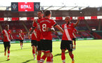 SOUTHAMPTON, ENGLAND - OCTOBER 25:  Danny Ings(L) of Southampton and Nathan Redmond(R) of Southampton congratulates James Ward-Prowse(center) on his goal during the Premier League match between Southampton and Everton at St Mary's Stadium on October 25, 2020 in Southampton, England. Sporting stadiums around the UK remain under strict restrictions due to the Coronavirus Pandemic as Government social distancing laws prohibit fans inside venues resulting in games being played behind closed doors. (Photo by Matt Watson/Southampton FC via Getty Images)