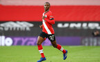SOUTHAMPTON, ENGLAND - OCTOBER 25: Ibrahima Diallo of Southampton during the Premier League match between Southampton and Everton at St Mary's Stadium on October 25, 2020 in Southampton, England. Sporting stadiums around the UK remain under strict restrictions due to the Coronavirus Pandemic as Government social distancing laws prohibit fans inside venues resulting in games being played behind closed doors. (Photo by Matt Watson/Southampton FC via Getty Images)