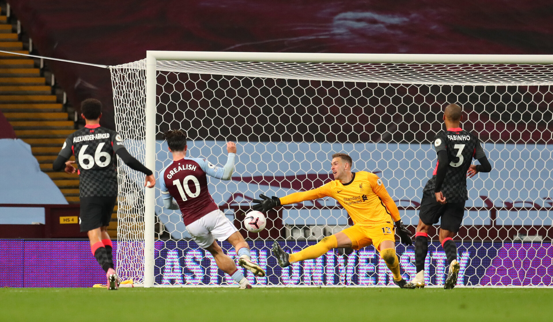 BIRMINGHAM, ENGLAND - OCTOBER 04: Jack Grealish of Aston Villa  scores his team's seventh goal  during the Premier League match between Aston Villa and Liverpool at Villa Park on October 04, 2020 in Birmingham, England. Sporting stadiums around the UK remain under strict restrictions due to the Coronavirus Pandemic as Government social distancing laws prohibit fans inside venues resulting in games being played behind closed doors. (Photo by Catherine Ivill/Getty Images)