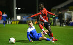 SOUTHAMPTON, ENGLAND - NOVEMBER 02: Lucas Defise(R) of Southampton during the Hampshire FA Senior Cup semi-final between Eastleigh FC and Southampton FC B Team at Silverlake Stadium on November 02, 2020 in Southampton, England. (Photo by Isabelle Field/Southampton FC via Getty Images) (Photo by Isabelle Field/Isabelle Field)