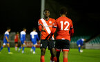 SOUTHAMPTON, ENGLAND - NOVEMBER 02: Pascal Kpohomouh(L) of Southampton congratulating Enzo Robise(R) of Southampton on his goal  during the Hampshire FA Senior Cup semi-final between Eastleigh FC and Southampton FC B Team at Silverlake Stadium on November 02, 2020 in Southampton, England. (Photo by Isabelle Field/Southampton FC via Getty Images) (Photo by Isabelle Field/Isabelle Field)