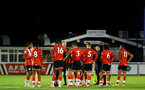 SOUTHAMPTON, ENGLAND - NOVEMBER 02: Southampton players ahead of the penalty shootout during the Hampshire FA Senior Cup semi-final between Eastleigh FC and Southampton FC B Team at Silverlake Stadium on November 02, 2020 in Southampton, England. (Photo by Isabelle Field/Southampton FC via Getty Images) (Photo by Isabelle Field/Isabelle Field)