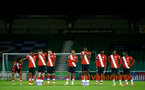 SOUTHAMPTON, ENGLAND - NOVEMBER 02: Southampton players stand together for penalty shootout during the Hampshire FA Senior Cup semi-final between Eastleigh FC and Southampton FC B Team at Silverlake Stadium on November 02, 2020 in Southampton, England. (Photo by Isabelle Field/Southampton FC via Getty Images) (Photo by Isabelle Field/Isabelle Field)