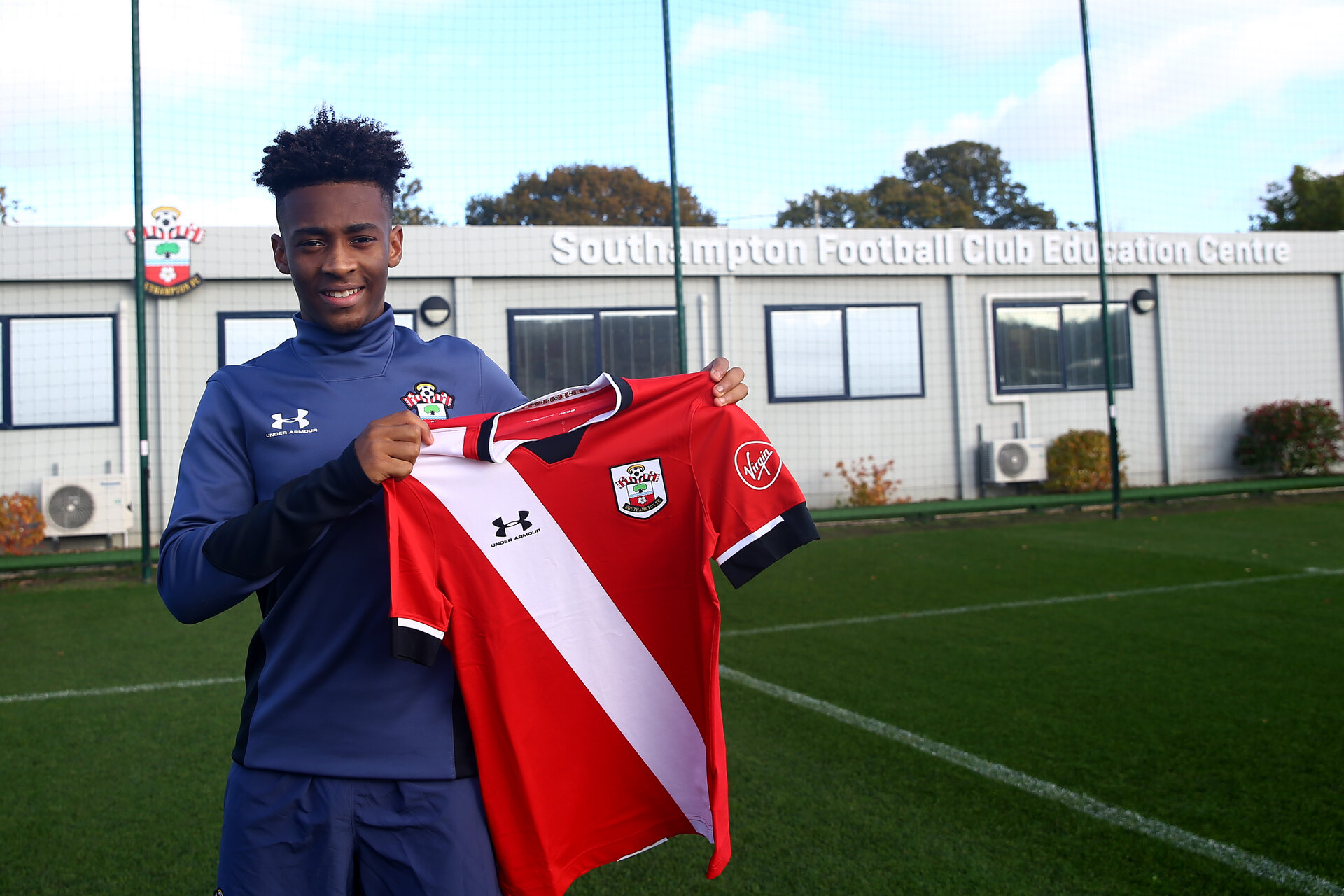 SOUTHAMPTON, ENGLAND - NOVEMBER 03: Fedel Ross-Lang signing first professional contract photographed at Staplewood Training Ground on November 03, 2020 in Southampton, England. (Photo by Isabelle Field/Southampton FC via Getty Images)