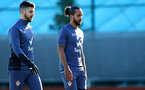 SOUTHAMPTON, ENGLAND - NOVEMBER 04: Shane Long(L) and Theo Walcott during a Southampton FC training session, at the Staplewood Campus, on November 04, 2020 in Southampton, England. (Photo by Matt Watson/Southampton FC via Getty Images)