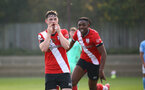 SOUTHAMPTON, ENGLAND - NOVEMBER 07: Will Ferry of Southampton goal celebration during the Premier League 2 match between Southampton FC B Team and Manchester City at Staplewood Training Ground on November 07, 2020 in Southampton, England. (Photo by Isabelle Field/Southampton FC via Getty Images) (Photo by Isabelle Field/Isabelle Field)