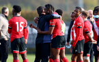 SOUTHAMPTON, ENGLAND - NOVEMBER 07: David Horseman(L) hugging Dan N'Lundulu at the end of the Premier League 2 match between Southampton FC B Team and Manchester City at Staplewood Training Ground on November 07, 2020 in Southampton, England. (Photo by Isabelle Field/Southampton FC via Getty Images) (Photo by Isabelle Field/Isabelle Field)