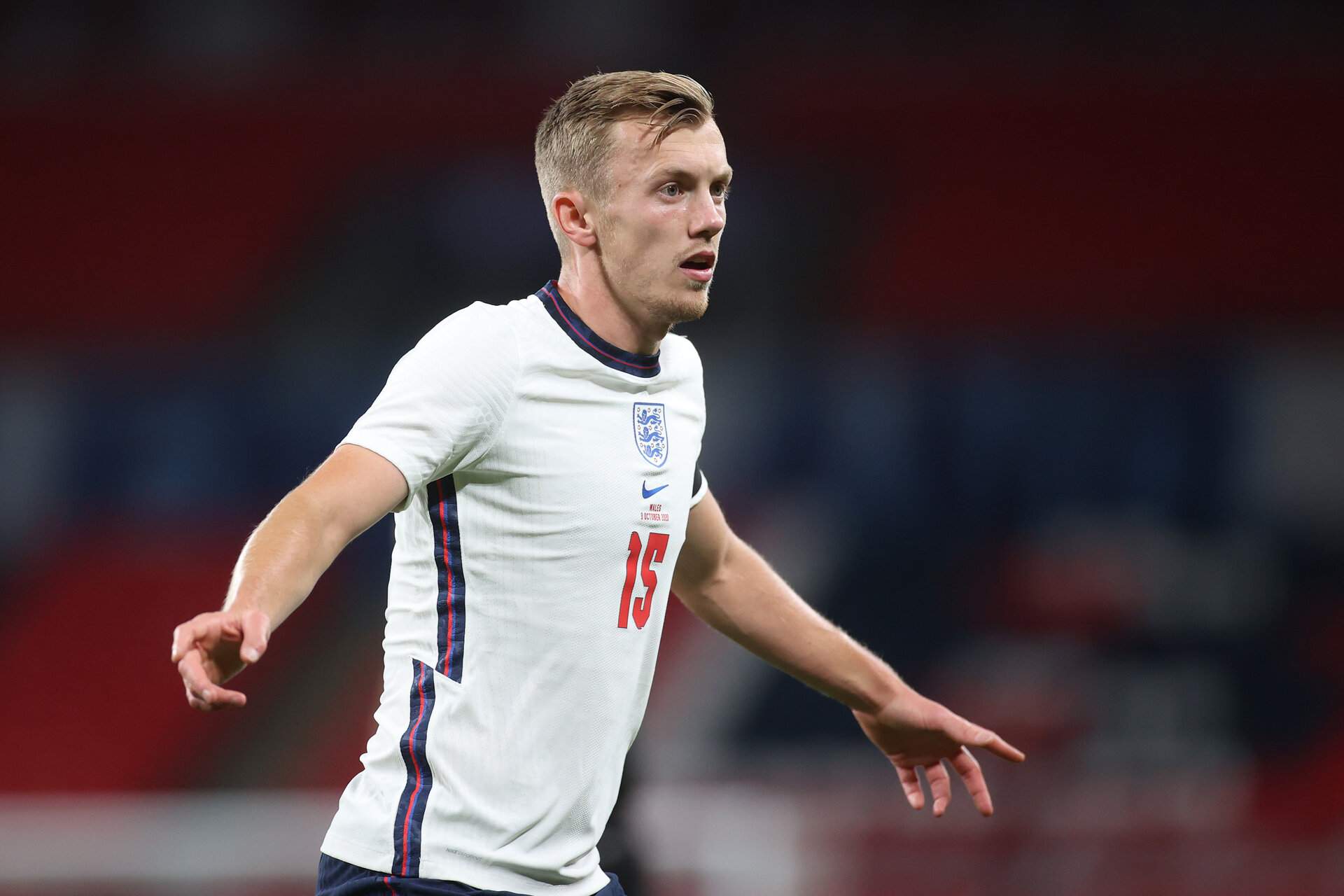 LONDON, ENGLAND - OCTOBER 08: James Ward-Prowse of England in action during the international friendly match between England and Wales at Wembley Stadium on October 08, 2020 in London, England. Sporting stadiums around the UK remain under strict restrictions due to the Coronavirus Pandemic as Government social distancing laws prohibit fans inside venues resulting in games being played behind closed doors. (Photo by Carl Recine - Pool/Getty Images)