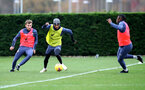 SOUTHAMPTON, ENGLAND - NOVEMBER 17: L to R, Jake Vokins, Kyle Walker-Peters and Dan N'Lundulu during a Southampton FC training session at the Staplewood Campus on November 17, 2020 in Southampton, England. (Photo by Matt Watson/Southampton FC via Getty Images)
