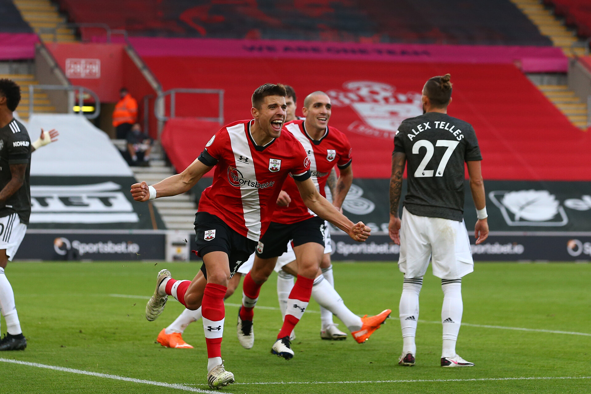 SOUTHAMPTON, ENGLAND - NOVEMBER 29: during the Premier League match between Southampton and Manchester United at St Mary's Stadium on November 29, 2020 in Southampton, England. Sporting stadiums around the UK remain under strict restrictions due to the Coronavirus Pandemic as Government social distancing laws prohibit fans inside venues resulting in games being played behind closed doors. (Photo by Matt Watson/Southampton FC via Getty Images)
