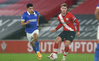 SOUTHAMPTON, ENGLAND - NOVEMBER 30: Steven Alzate (L) of Brighton & Hove Albion and Callum Slattery(R) of Southampton during the Premier League 2 match between Southampton FC B Team and Brighton & Hove Albion at the St Mary's Stadium on November 30, 2020 in Southampton, England. (Photo by Isabelle Field/Southampton FC via Getty Images)