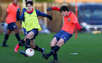 SOUTHAMPTON, ENGLAND - DECEMBER 03 : Marco Rus (L) and Luke Pearce(R) during Southampton U18s training session at Staplewood Complex on December 03, 2020 in Southampton, England. (Photo by Isabelle Field/Southampton FC via Getty Images)