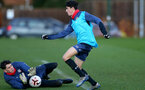 SOUTHAMPTON, ENGLAND - DECEMBER 03 : Oliver Wright(L) and Marco Rus (R) during Southampton U18s training session at Staplewood Complex on December 03, 2020 in Southampton, England. (Photo by Isabelle Field/Southampton FC via Getty Images)