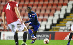 MANCHESTER, ENGLAND - DECEMBER 04: Michael Obafemi of Southampton during the Premier League 2 match between Manchester United and Southampton B Team at Leigh Sports Village on December 04, 2020 in Manchester, England. (Photo by Isabelle Field/Southampton FC via Getty Images)