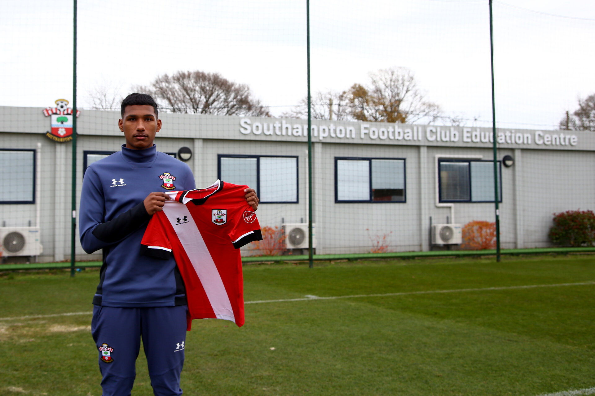 SOUTHAMPTON, ENGLAND - DECEMBER 09: Jeremi Rodriguez signing his first professional contract photographed at Staplewood Training Ground on December 09, 2020 in Southampton, England. (Photo by Isabelle Field/Southampton FC via Getty Images)