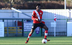 SOUTHAMPTON, ENGLAND - DECEMBER 12: David Agbontohoma   of Southampton during the Premier League 2 match between Southampton B Team and Leicester City at Snows Stadium on December 12, 2020 in Southampton, England. (Photo by Isabelle Field/Southampton FC via Getty Images)