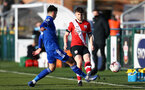 SOUTHAMPTON, ENGLAND - DECEMBER 12: Will Ferry of Southampton during the Premier League 2 match between Southampton B Team and Leicester City at Snows Stadium on December 12, 2020 in Southampton, England. (Photo by Isabelle Field/Southampton FC via Getty Images)