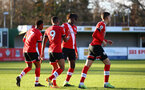 SOUTHAMPTON, ENGLAND - DECEMBER 12: Tyreke Johnson celebrates goal with team mates during the Premier League 2 match between Southampton B Team and Leicester City at Snows Stadium on December 12, 2020 in Southampton, England. (Photo by Isabelle Field/Southampton FC via Getty Images)