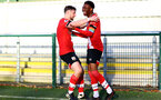 SOUTHAMPTON, ENGLAND - DECEMBER 12: Will Ferry (L) congratulates Nathan Tella (R) on scoring during the Premier League 2 match between Southampton B Team and Leicester City at Snows Stadium on December 12, 2020 in Southampton, England. (Photo by Isabelle Field/Southampton FC via Getty Images)