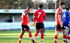 SOUTHAMPTON, ENGLAND - DECEMBER 12: Tyreke Johnson(L) of Southampton congratulating Nathan Tella of Southampton on scoring penalty during the Premier League 2 match between Southampton B Team and Leicester City at Snows Stadium on December 12, 2020 in Southampton, England. (Photo by Isabelle Field/Southampton FC via Getty Images)