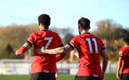 SOUTHAMPTON, ENGLAND - DECEMBER 12: Nathan Tella (L) and Will Ferry(R) of Southampton during the Premier League 2 match between Southampton B Team and Leicester City at Snows Stadium on December 12, 2020 in Southampton, England. (Photo by Isabelle Field/Southampton FC via Getty Images)