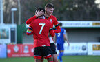 SOUTHAMPTON, ENGLAND - DECEMBER 12: Will Smallbone of congratulating Nathan Tella on scoring during the Premier League 2 match between Southampton B Team and Leicester City at Snows Stadium on December 12, 2020 in Southampton, England. (Photo by Isabelle Field/Southampton FC via Getty Images)
