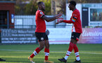 SOUTHAMPTON, ENGLAND - DECEMBER 12: Tyreke Johnson(L) of Southampton scores and celebrates with Nathan Tella of Southampton during the Premier League 2 match between Southampton B Team and Leicester City at Snows Stadium on December 12, 2020 in Southampton, England. (Photo by Isabelle Field/Southampton FC via Getty Images)