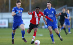 SOUTHAMPTON, ENGLAND - DECEMBER 12: Nathan Tella (center) of Southampton during the Premier League 2 match between Southampton B Team and Leicester City at Snows Stadium on December 12, 2020 in Southampton, England. (Photo by Isabelle Field/Southampton FC via Getty Images)