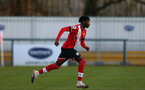 SOUTHAMPTON, ENGLAND - DECEMBER 12: Kgaogelo Chauke of Southampton during the Premier League 2 match between Southampton B Team and Leicester City at Snows Stadium on December 12, 2020 in Southampton, England. (Photo by Isabelle Field/Southampton FC via Getty Images)