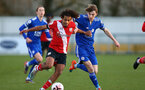 SOUTHAMPTON, ENGLAND - DECEMBER 12: Caleb Watts(L) of Southampton during the Premier League 2 match between Southampton B Team and Leicester City at Snows Stadium on December 12, 2020 in Southampton, England. (Photo by Isabelle Field/Southampton FC via Getty Images)