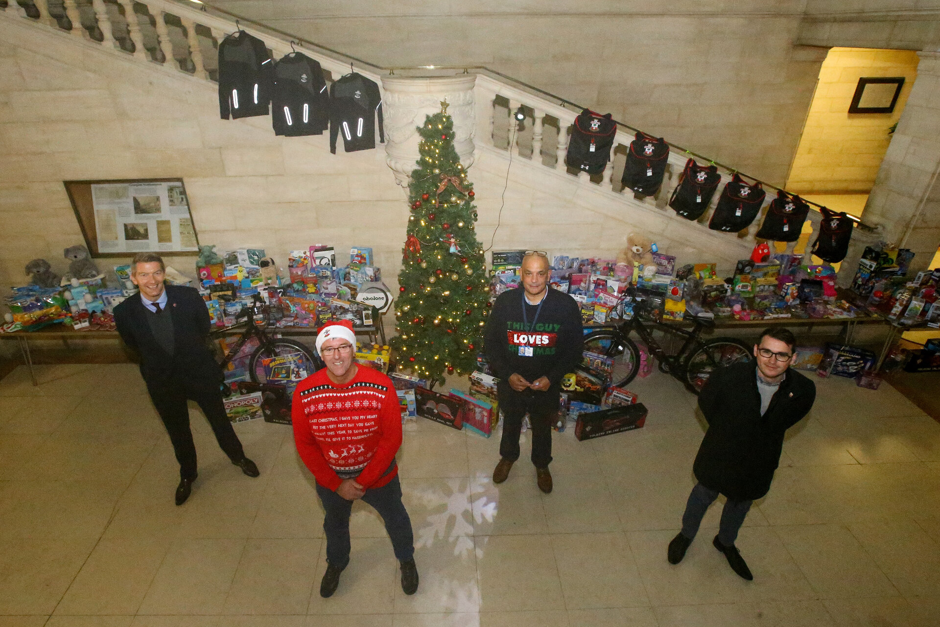 SOUTHAMPTON, ENGLAND - DECEMBER 14: David Thomas(L), Matt Le Tissier and Christopher Hammond(R) at Southampton City Council annual toy donation photographed at Southampton Civic Center on December 14, 2020 in Southampton, England. (Photo by Isabelle Field/Southampton FC via Getty Images)