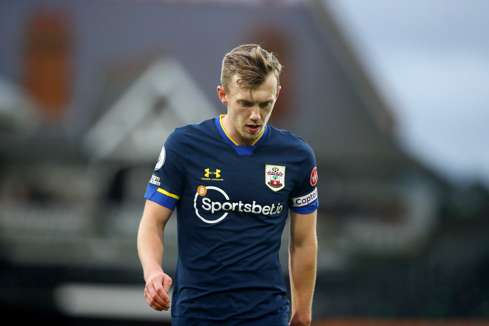 LONDON, ENGLAND - DECEMBER 26: James Ward-Prowse of Southampton during the Premier League match between Fulham and Southampton at Craven Cottage on December 26, 2020 in London, England. The match will be played without fans, behind closed doors as a Covid-19 precaution. (Photo by Matt Watson/Southampton FC via Getty Images)