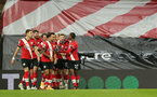 SOUTHAMPTON, ENGLAND - JANUARY 04: Southampton players celebrates Danny Ings goal during the Premier League match between Southampton and Liverpool at St Mary's Stadium on January 04, 2021 in Southampton, England. (Photo by Matt Watson/Southampton FC via Getty Images)