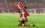 SOUTHAMPTON, ENGLAND - JANUARY 19: Dan N'Lundulu of Southampton goal celebration during the FA Cup Third Round match between Southampton and Shrewsbury Town on January 19, 2021 in Southampton, England. Sporting stadiums around the UK remain under strict restrictions due to the Coronavirus Pandemic as Government social distancing laws prohibit fans inside venues resulting in games being played behind closed doors. (Photo by Matt Watson/Southampton FC via Getty Images)