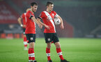SOUTHAMPTON, ENGLAND - JANUARY 19: Jake Vokins(L) of and James Ward-Prowse (R) of Southampton during the FA Cup Third Round match between Southampton and Shrewsbury Town on January 19, 2021 in Southampton, England. Sporting stadiums around the UK remain under strict restrictions due to the Coronavirus Pandemic as Government social distancing laws prohibit fans inside venues resulting in games being played behind closed doors. (Photo by Matt Watson/Southampton FC via Getty Images)