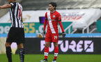 NEWCASTLE UPON TYNE, ENGLAND - FEBRUARY 06: Takumi Minamino of Southampton during the Premier League match between Newcastle United and Southampton at St. James Park on February 06, 2021 in Newcastle upon Tyne, England. Sporting stadiums around the UK remain under strict restrictions due to the Coronavirus Pandemic as Government social distancing laws prohibit fans inside venues resulting in games being played behind closed doors. (Photo by Matt Watson/Southampton FC via Getty Images)