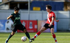 SOUTHAMPTON, ENGLAND - FEBRUARY 07: Ethan Burnett (R) of Southampton during the Premier League 2 match between  Southampton B Team and Tottenham Hotspur at Snows Stadium on February 07, 2021 in Southampton, England. (Photo by Isabelle Field/Southampton FC via Getty Images)