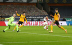 WOLVERHAMPTON, ENGLAND - FEBRUARY 11: Nathan Redmond of Southampton shoots at goal during The Emirates FA Cup Fifth Round match between Wolverhampton Wanderers and Southampton at Molineux on February 11, 2021 in Wolverhampton, England. Sporting stadiums around the UK remain under strict restrictions due to the Coronavirus Pandemic as Government social distancing laws prohibit fans inside venues resulting in games being played behind closed doors. (Photo by Matt Watson/Southampton FC via Getty Images)